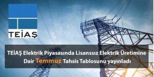 TEİAŞ Elektrik Piyasasında Lisanssız Elektrik Üretimine Dair Temmuz Tahsis Tablosunu yayınladı