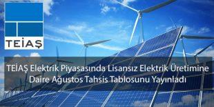 TEİAŞ Elektrik Piyasasında Lisanssız Elektrik Üretimine Dair Ağustos Tahsis Tablosunu yayınladı